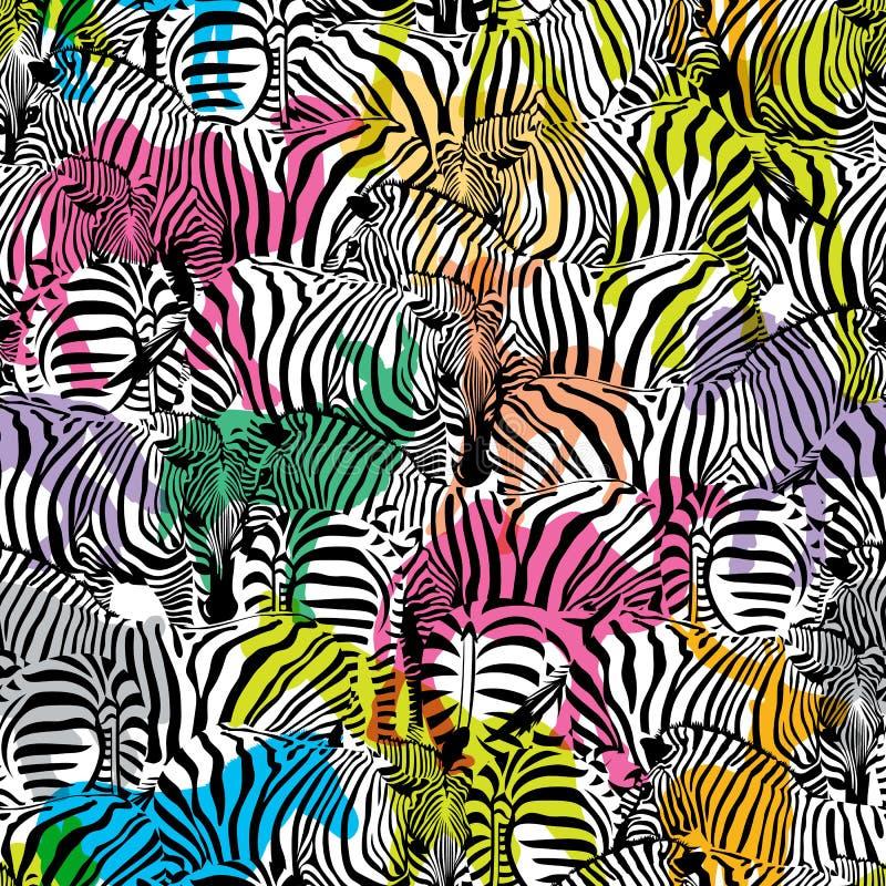 Зебра с красочными животными живой природы силуэта, безшовная картина бесплатная иллюстрация