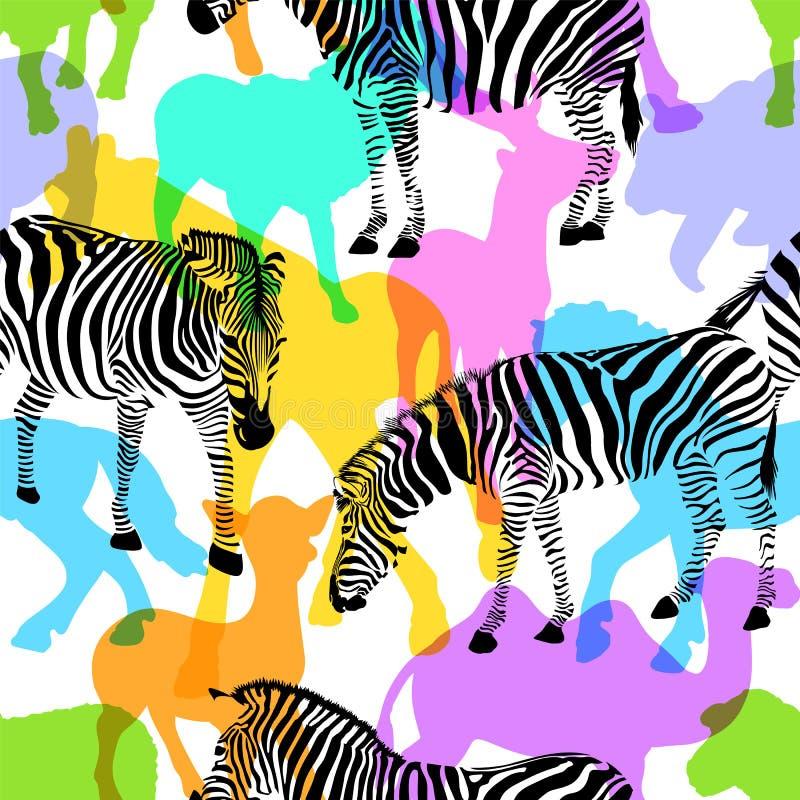 Зебра с красочными животными живой природы силуэта, иллюстрация штока