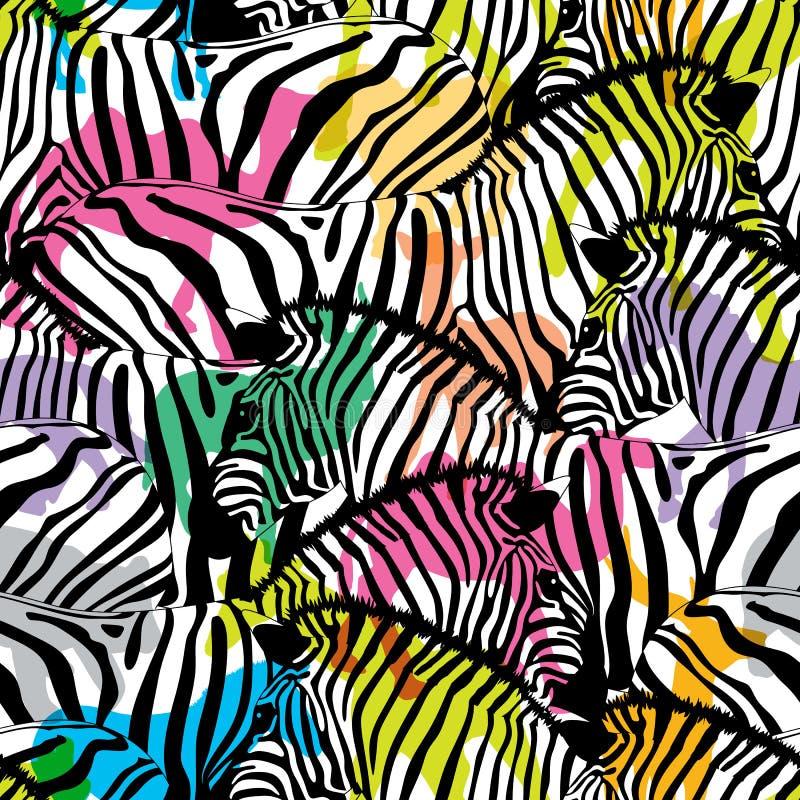 Зебра с красочными животными живой природы силуэта, бесплатная иллюстрация