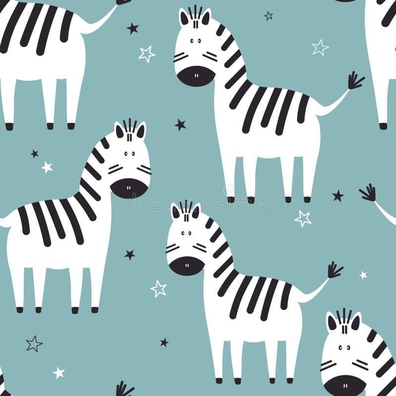 Зебры, безшовная картина иллюстрация вектора
