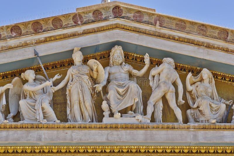 Зевс, Афина и другие боги и божества древнегреческия стоковые изображения