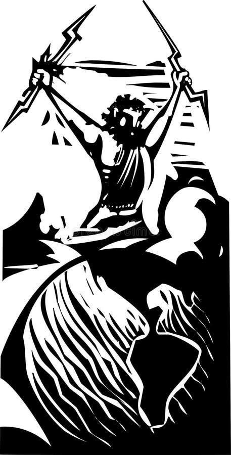 Зевс и земля Woodcut иллюстрация вектора