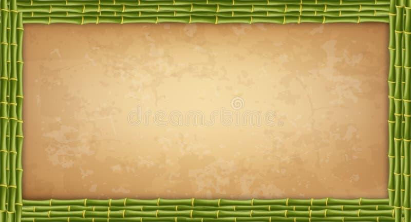 Зеленая бамбуковая рамка ручек с higly детальными винтажными бумажными пробелом или холстом бесплатная иллюстрация