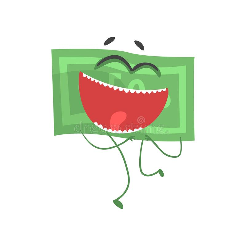 Зеленая банкнота с радостным выражением стороны Характер денег шаржа с оружиями и ногами в плоском дизайне по мере того как векто иллюстрация вектора