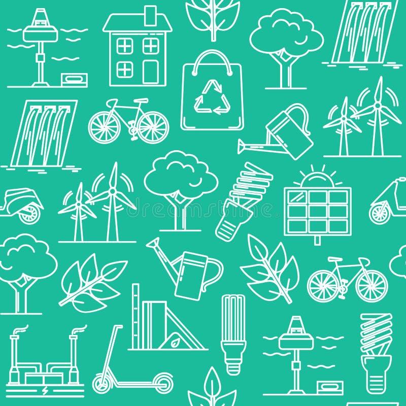 Зеленая безшовная картина с символами eco иллюстрация штока