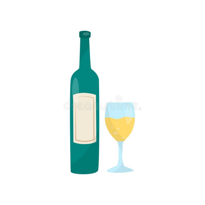 Зеленая бутылка вина и стекла Очень вкусный алкогольный напиток Традиционный хорватский напиток Плоский элемент вектора для кафа бесплатная иллюстрация
