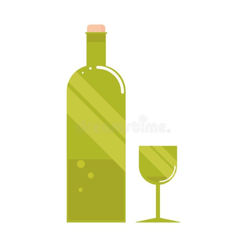 Зеленая бутылка вина с стеклом бесплатная иллюстрация