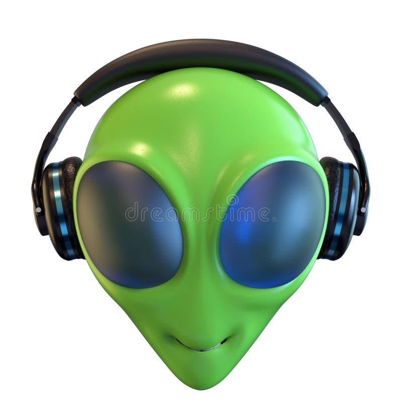 Зеленая голова чужеземца с наушниками иллюстрация штока
