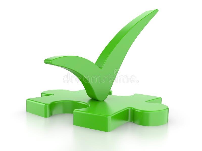 Зеленая головоломка с проверкой бесплатная иллюстрация
