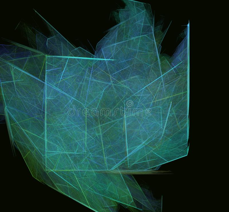 Зеленая голубая абстрактная текстура фрактали на черной предпосылке Текстура фрактали фантазии twirl искусства abstact глубоко ци бесплатная иллюстрация