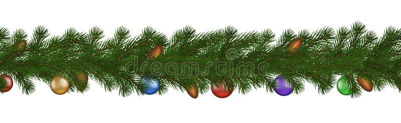 Зеленая граница рождества ветви сосны, конус и шарик, безшовный вектор изолированные на белой предпосылке иллюстрация штока