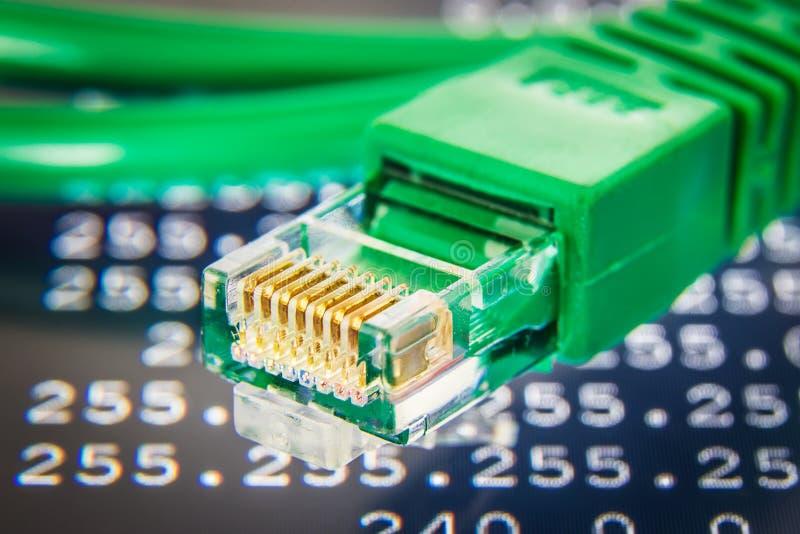 Зеленая деталь кабеля ethernet стоковое фото