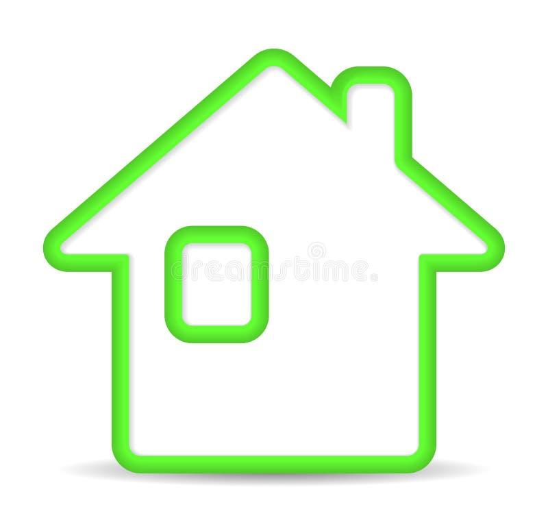 Зеленая домашняя икона на белой предпосылке бесплатная иллюстрация