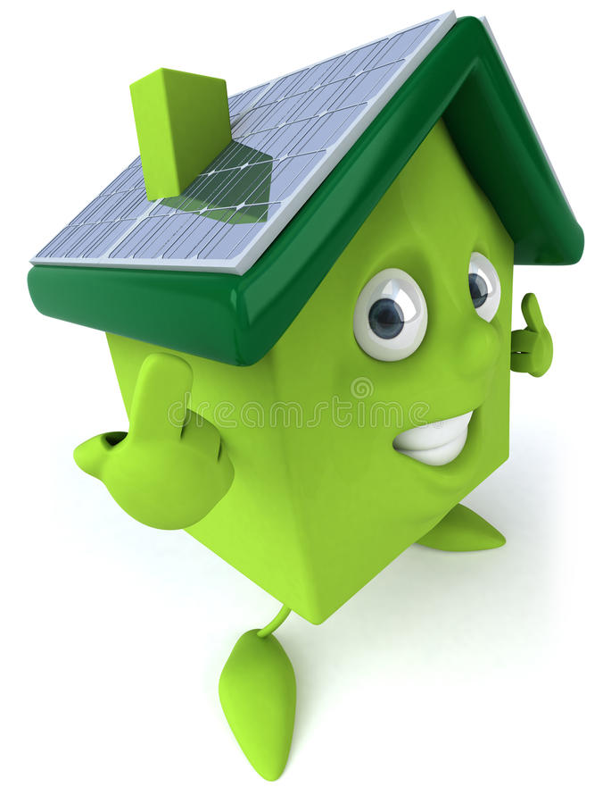 зеленая дом обшивает панелями солнечное иллюстрация штока