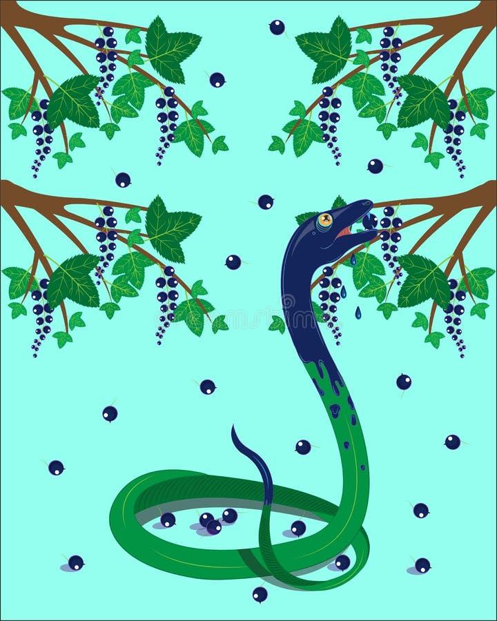 Зеленая змейка ест черную смородину бесплатная иллюстрация