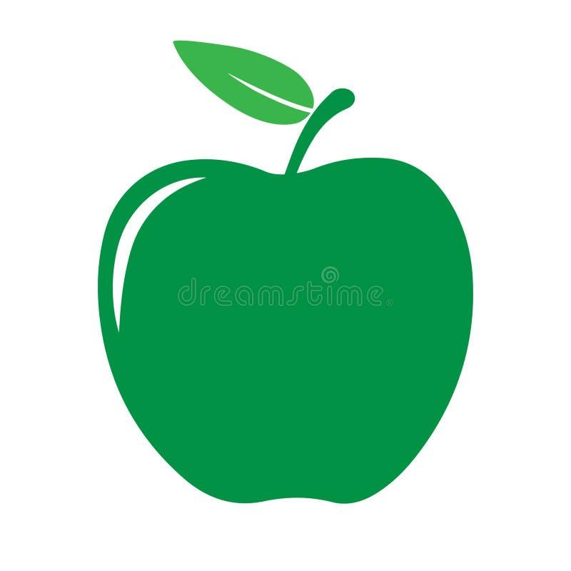 Зеленая икона яблока иллюстрация вектора