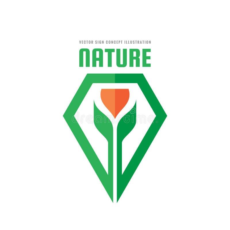 Зеленая иллюстрация концепции природы Росток и цветок с листьями - vector творческий логотип органический знак Символ земледелия  иллюстрация вектора