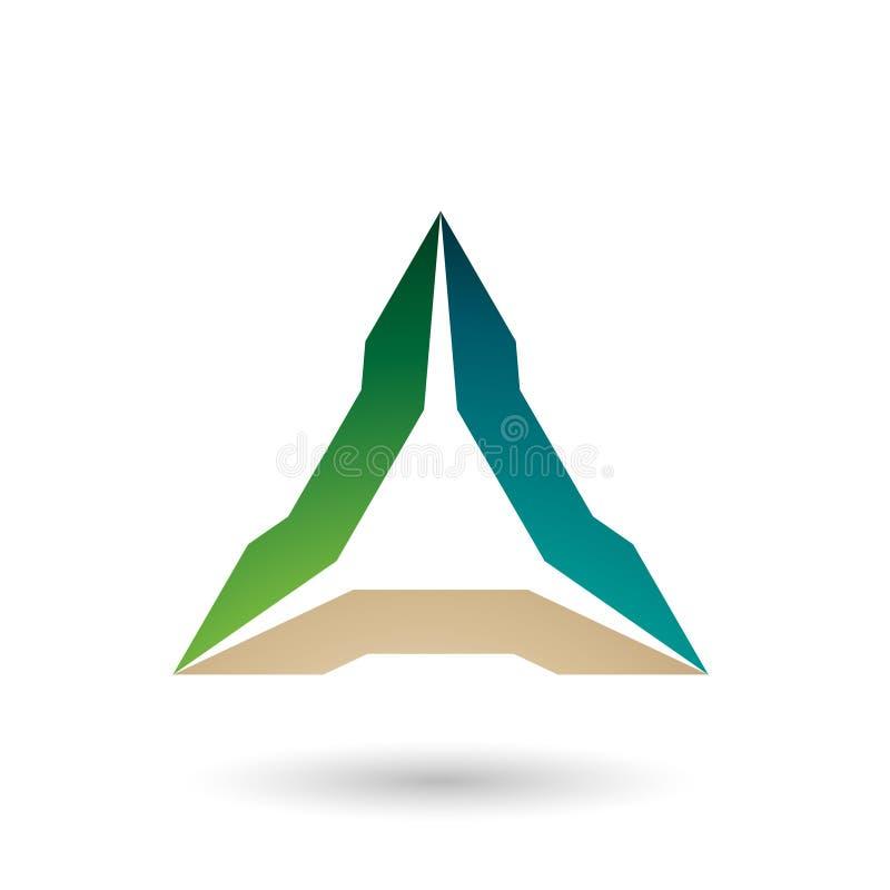 Зеленая и бежевая спиковая иллюстрация вектора треугольника иллюстрация вектора