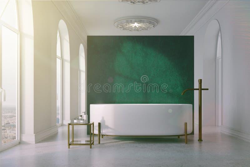Зеленая и белая ванная комната, круглый тонизированный ушат иллюстрация штока