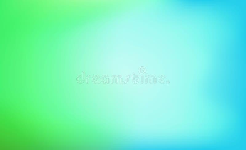 Зеленая и голубая абстрактная предпосылка с запачканным градиентом Расплывчатая текстура с салатовым и голубым цветом Красочная п иллюстрация штока