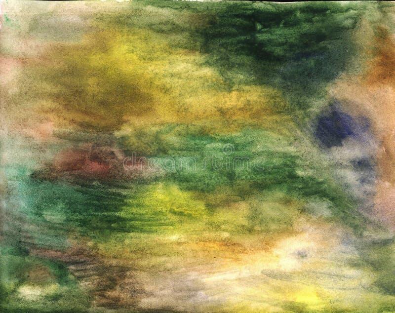 Зеленая и голубая текстура акварели Картина aquarelle руки вычерченная для дизайна Художественный фон grunge ( стоковое фото rf
