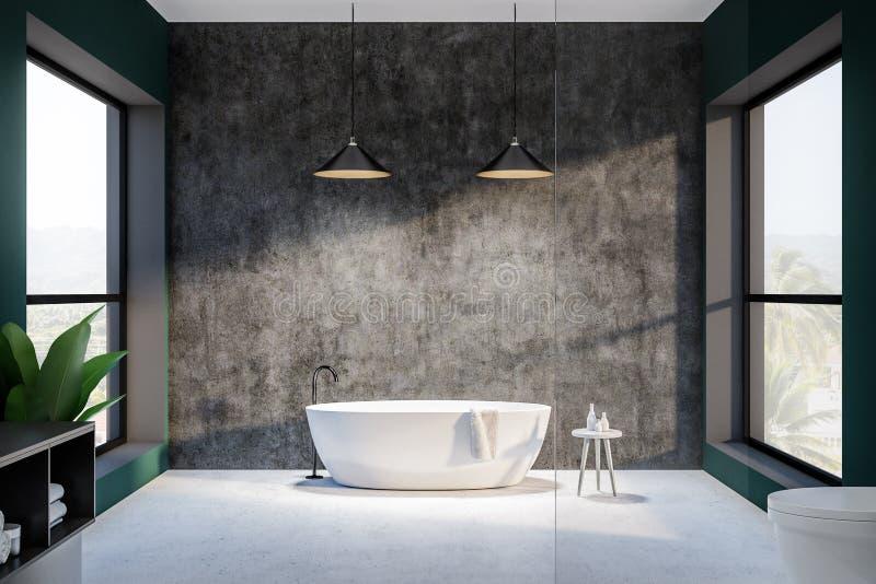 Зеленая и конкретная ванная комната внутренняя, круглый ушат иллюстрация штока