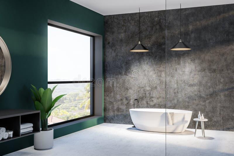 Зеленая и конкретная ванная комната, круглый ушат и раковина иллюстрация штока