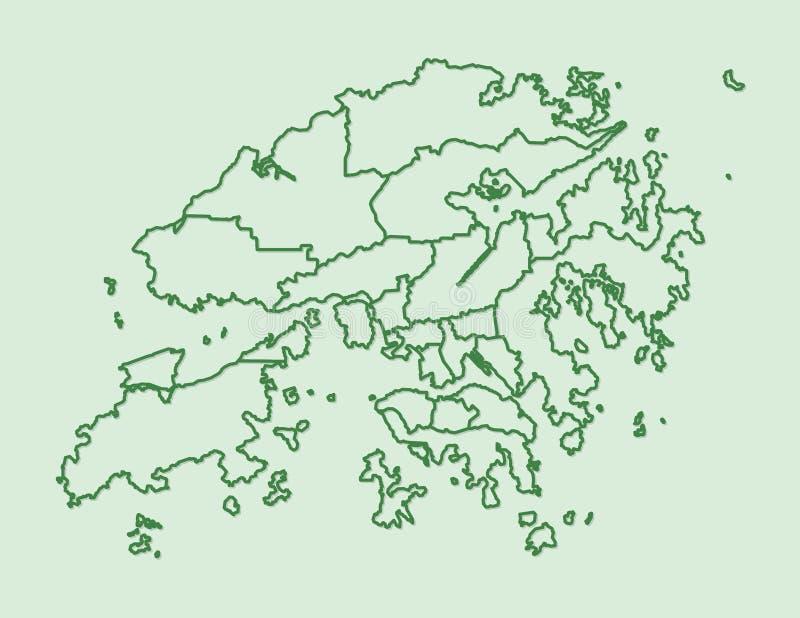 Зеленая карта Гонконга с границами районов на светлой иллюстрации вектора предпосылки иллюстрация штока