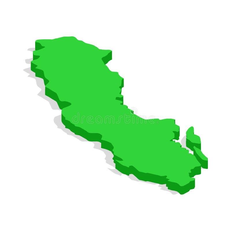 Зеленая карта значка Швеции, равновеликого стиля 3d иллюстрация вектора