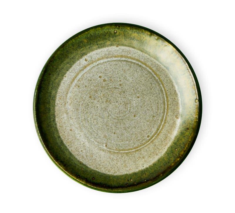 Зеленая керамическая плита, пустая плита с текстурой гранита, осматривает сверху изолированный на белой предпосылке с путем клипп стоковая фотография