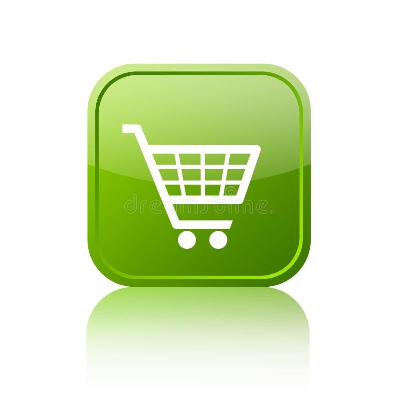 Зеленая кнопка магазинной тележкаи иллюстрация вектора