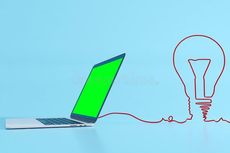 Зеленая компьтер-книжка с лампой кабеля иллюстрация вектора