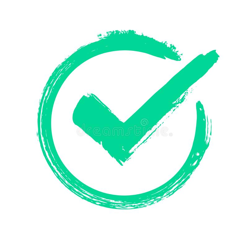 Зеленая контрольная пометка grunge Правильный ответ, проверяющ значок утверждения голосования или выбора Проверенный символ векто иллюстрация штока