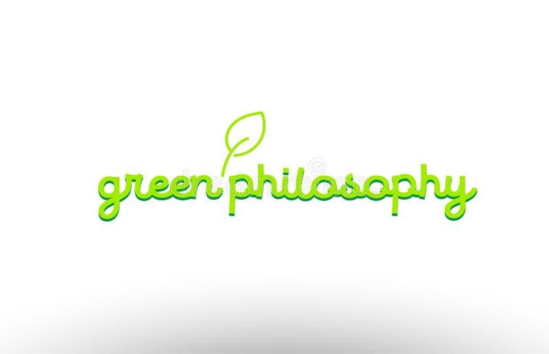 зеленая концепция слова общего соображения с зеленой компанией значка логотипа лист иллюстрация штока