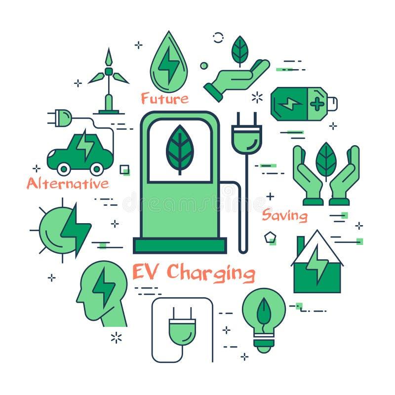 Зеленая концепция EV поручая иллюстрация вектора