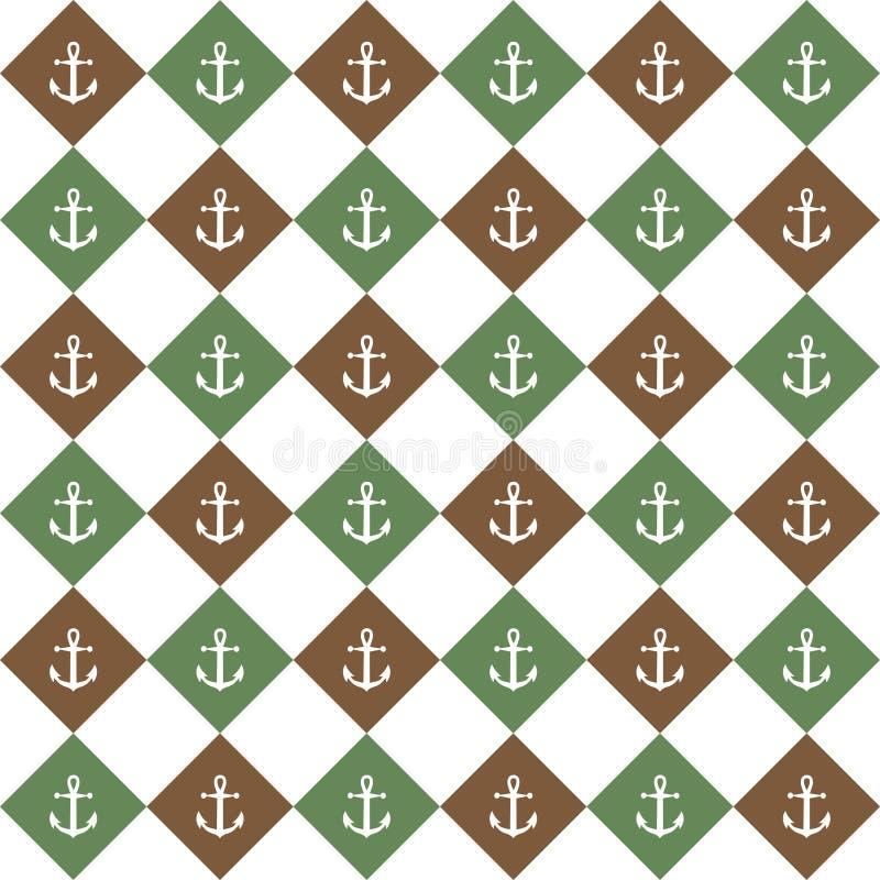 Зеленая коричневая предпосылка диаманта с анкером иллюстрация штока