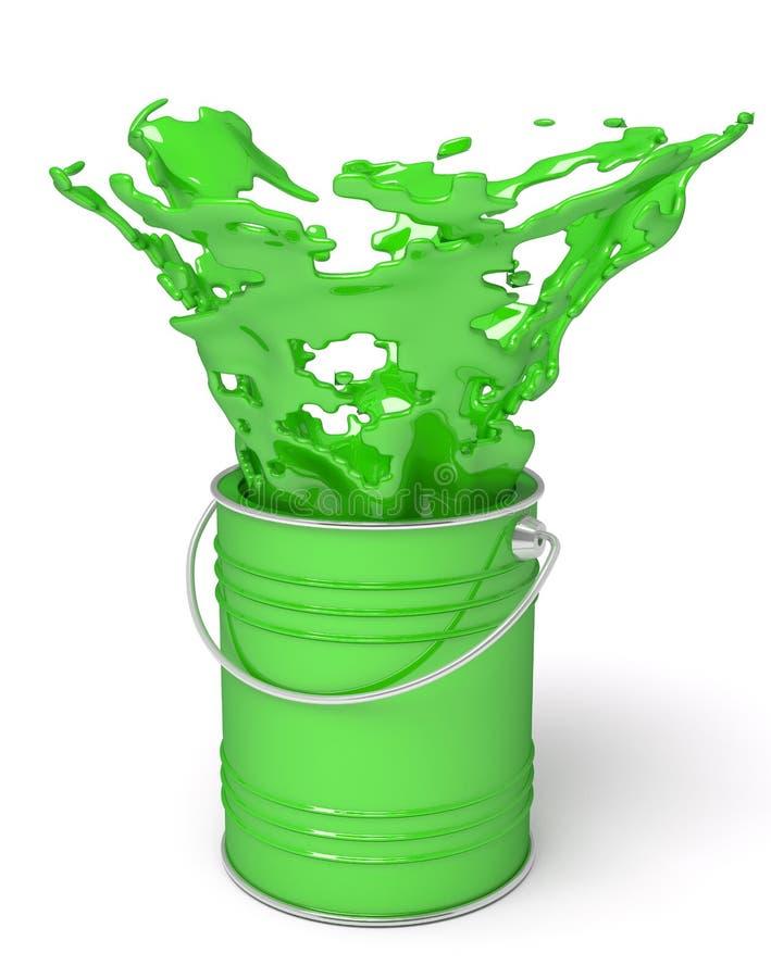 Зеленая краска брызгая из чонсервной банкы иллюстрация вектора