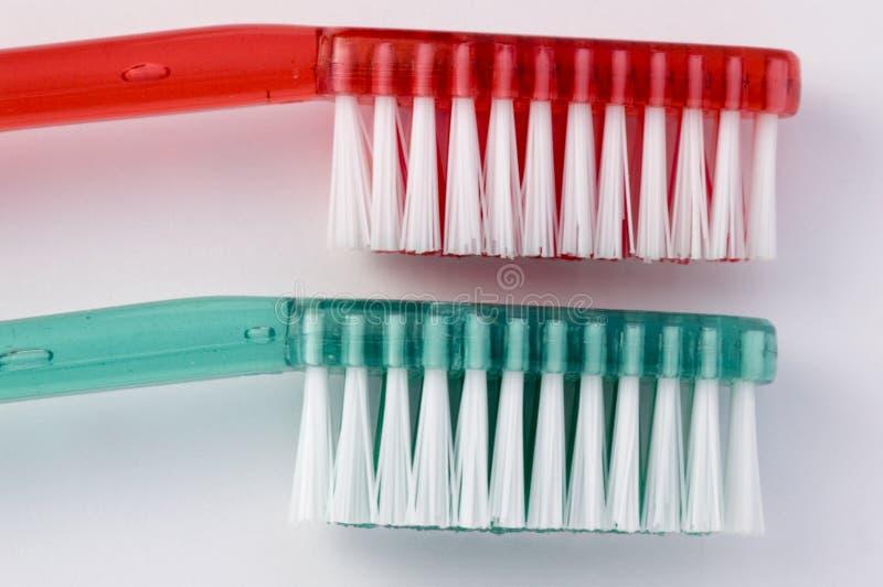 зеленая красная зубная щетка стоковое изображение rf
