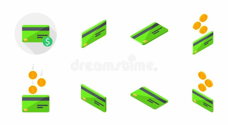 Зеленая кредитная карточка, карта банка, равновеликая, финансы, дело, отсутствие предпосылки, вектора, плоского значка, пакета зн иллюстрация штока