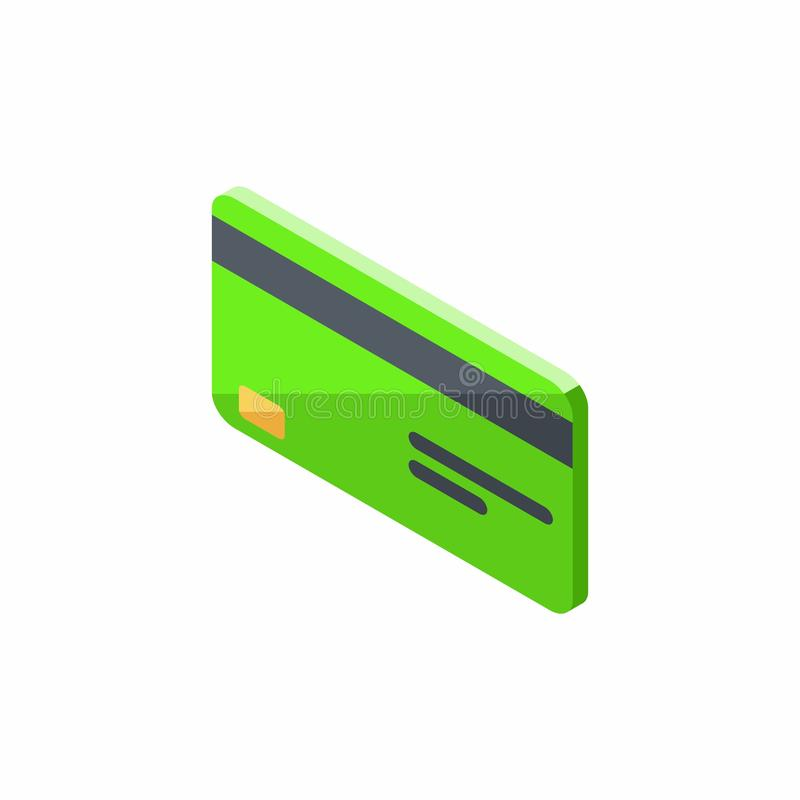 Зеленая кредитная карточка, равновеликая, финансы, дело, карта банка, вектор иллюстрация штока