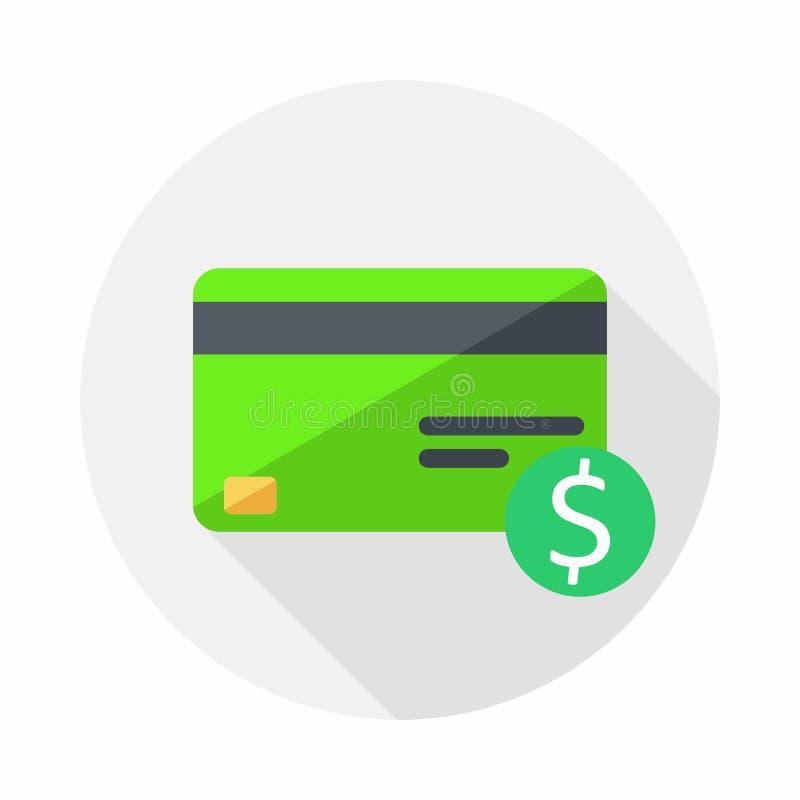 Зеленая кредитная карточка, финансы, дело, вектор, плоский значок иллюстрация штока