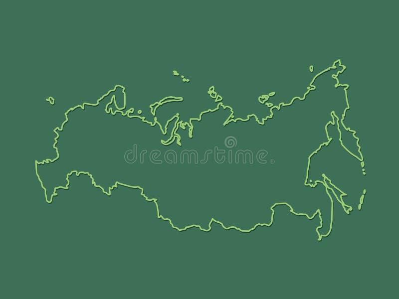 Зеленая крутая и простая карта России с планами на темной предпосылке иллюстрация вектора