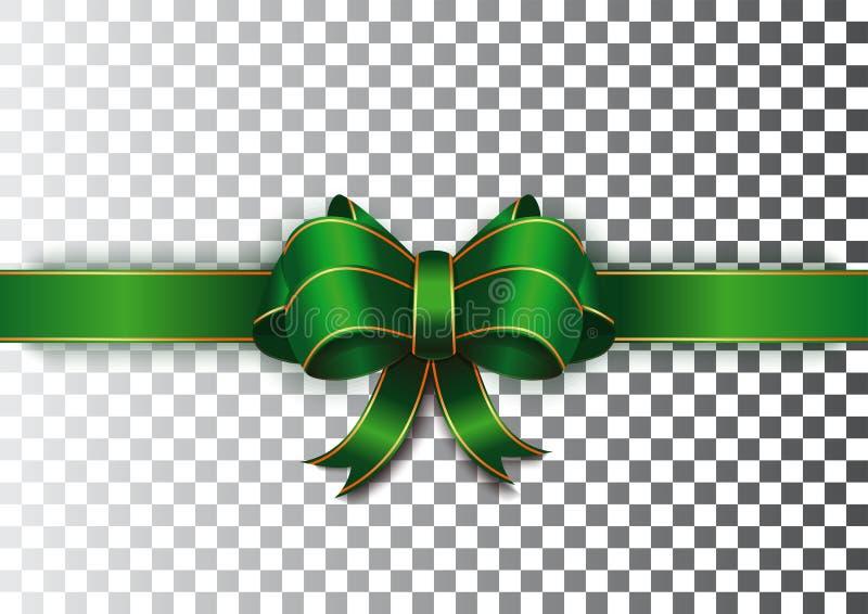 Зеленая лента с смычком на прозрачной предпосылке иллюстрация вектора