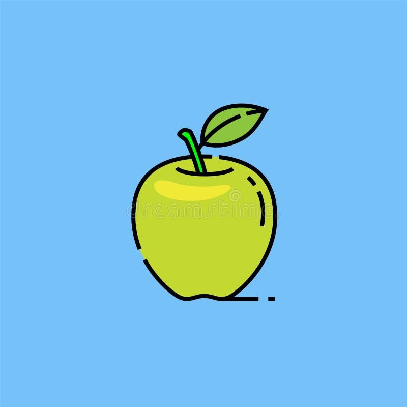 Зеленая линия значок яблока Смита бабушки иллюстрация вектора