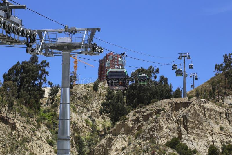 Зеленая линия системы фуникулера Paz воздушной Teleferico Ла стоковое фото rf