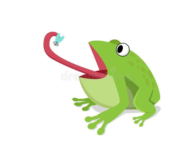 Зеленая лягушка ест насекомое на белизне, векторе шаржа иллюстрация штока