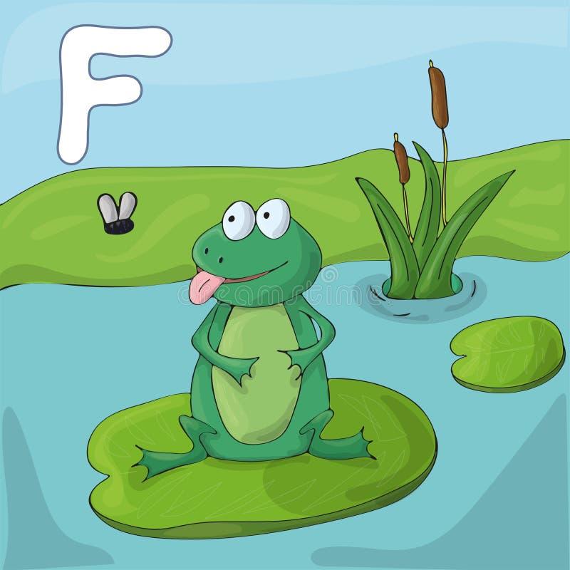 Зеленая лягушка на озере Алфавит детей проиллюстрированный Письмо f иллюстрация вектора