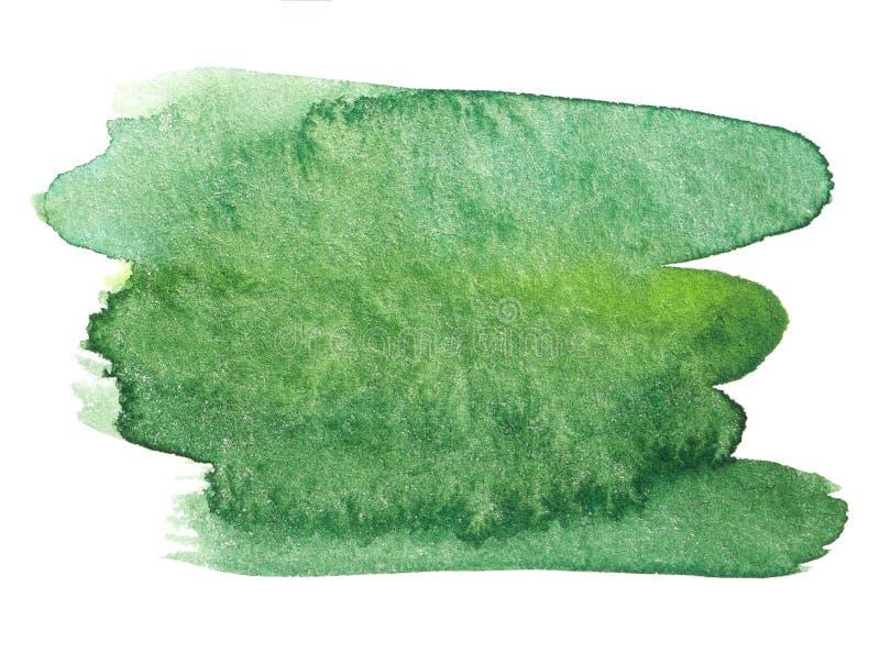 Зеленая нарисованная рука выплеска акварели иллюстрация штока