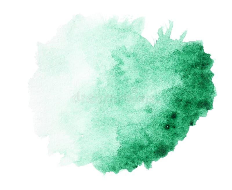 Зеленая нарисованная рука выплеска акварели стоковая фотография