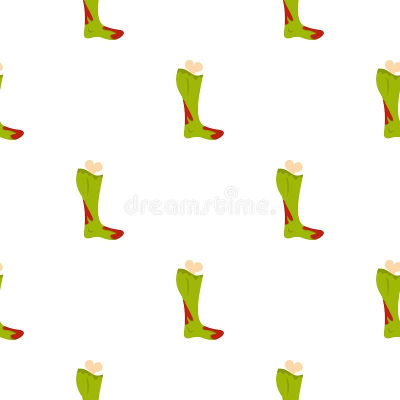 Зеленая нога зомби в картине крови безшовной иллюстрация вектора